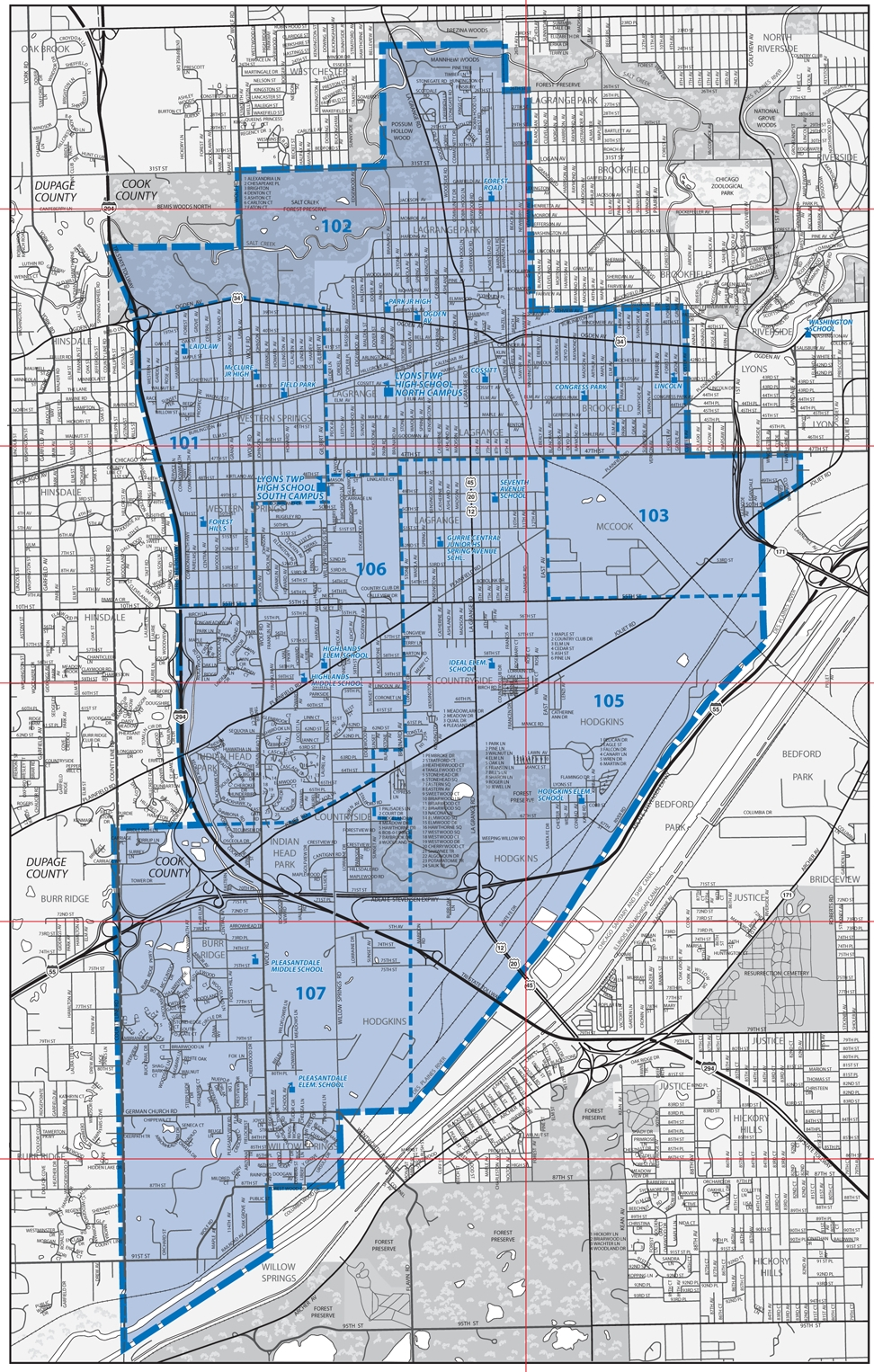 Lyons Illinois Map.About Lths District Map