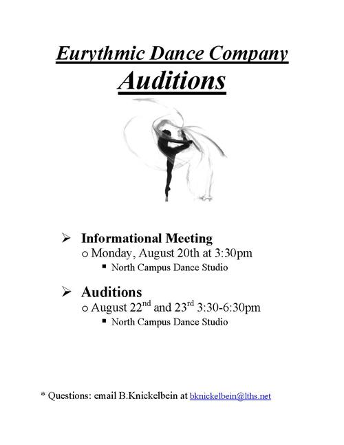 Eurythmics audition information, click to download the application. Informational Meeting on August 20 at 3:30pm. Auditions are August 22 and 23 from 3:30-6:30pm. All in the NC Dance Studio.