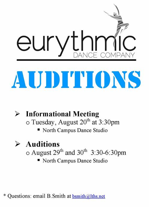 Audition Info session on Aug 20, 3:30pm in NC Dance Studtio. Auditions are Aug 29-30, 3:30-6:30pm in NC Dance Studio.