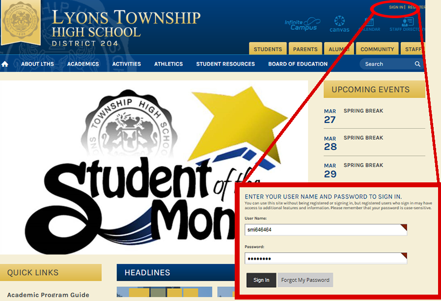 At the top right of the webpage, click Sign In, enter your log in credentials to be taken to the teacher webpages.